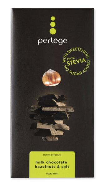 Perlége млечен шоколад с лешници и сол без захар